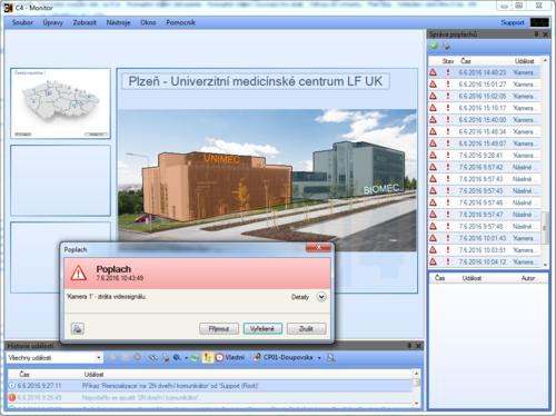 Ukázka zobrazení poplachu v grafické nadstavbě C4