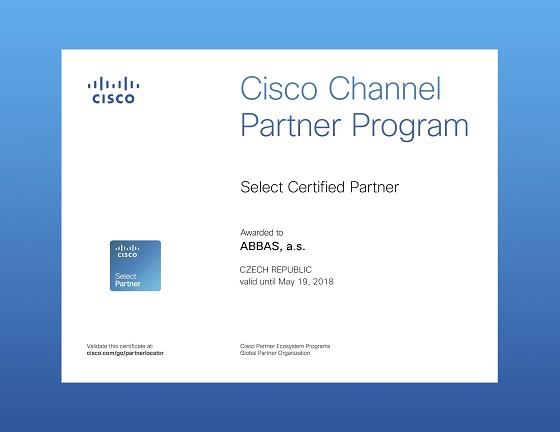 Certifikát pro partnery od společnosti Cisco