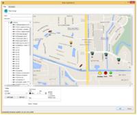 Mapa vložena z Googlu s přidanými ikonami systému videokamer