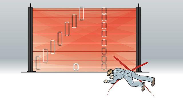 IR bariéra Miris disponuje autonomním nastavením spodního paprsku pro detekci podlezení