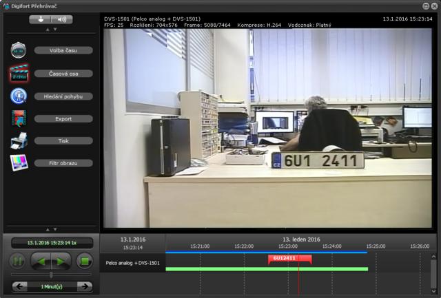 Záložka s SPZ ve videozáznamu