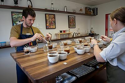 Cupping room - místnost pro degustaci kávy