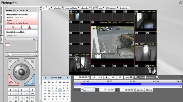 Přehrávání atypické matice CCTV kamer